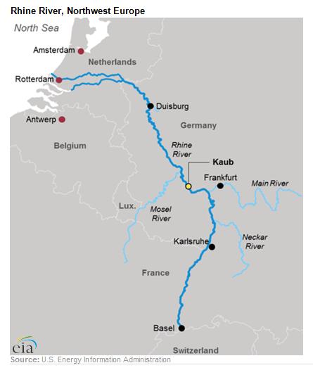Rhine River, Northwest Europe Map